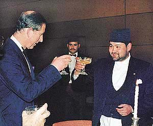 An undated file photo shows Nepal's Crown Prince Dipendra making a toast to Britain's visiting Prince Charles in Kathmandu. Dipendra, according to reports from Kathmandu, shot his father and mother, Nepal's King Birendra and Queen Aishwarya and other members of the royal family before turning the gun on himself at the Narayan Hity royal palace on Friday night. REUTERS/Gopal Chitrajar/File photo Nepal's King Birendra (C) and Queen Aishwarya (L) are seen in New Delhi in this January 25, 1999 file photo. King Birendra and Queen Aishwarya and other relatives have been assassinated in a shoot-out at the royal palace in Kathmandu it is being reported by the Nepali Times newspaper June 2, 2001