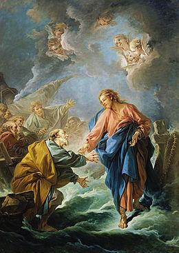 Jezus laat Petrus over water lopen