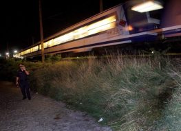 Austrian police secure the entrance area of the Nordbahn train in Vienna's Leopoldstadt early Thursday, 24 August 2006. The alleged kidnapper of Natascha Kampusch committed suicide here, throwing himself in front of a train. Natascha Kampusch disappeared in 1998 at age ten and told police yesterday, 23 August 2006, she had managed to escape her kidnapper after being held for eight years in a sealed garage. EPA/GUENTER R. ARTINGER