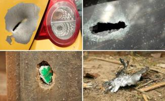 COMBO - A selection of photos shows the damage caused by flying shrapnel parked near the scene of the attack on the Borussia Dortmund team bus in Dortmund, Germany, 13 April 2017. Police have wrapped up their investigation at the crime scene and the area is now once again open to the public. It is not yet clear who was responsible for the attack on the bus involving three explosive devices. The bus was transporting the team to the Signal Iduna Park stadium where Borussia Dortmund had been scheduled to play AS Monaco in a Champions League quarter final match. Photo: David Young/dpa